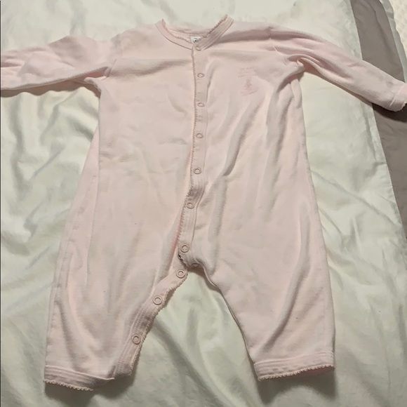 Petit Bateau Other - Petit Bateau pink and white onesie